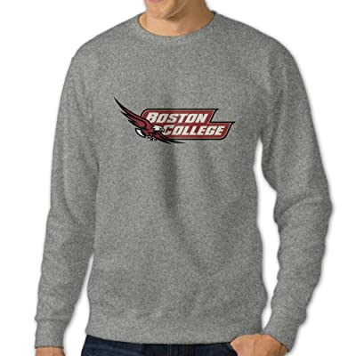 101Dog Boston College Hockey Logo Mens Crew Sweatshirt Ash