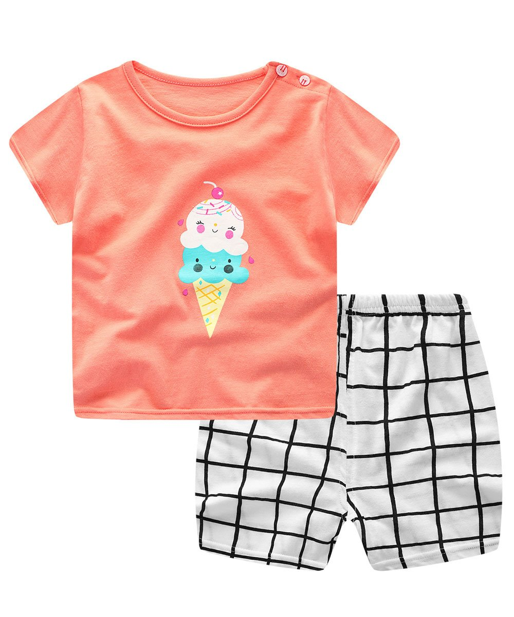 Unisex Baby Boys Girls 2-Piece Cotton Pajama Sleepwear Summer Outfits Set(12-18 Months,Ice Cream)