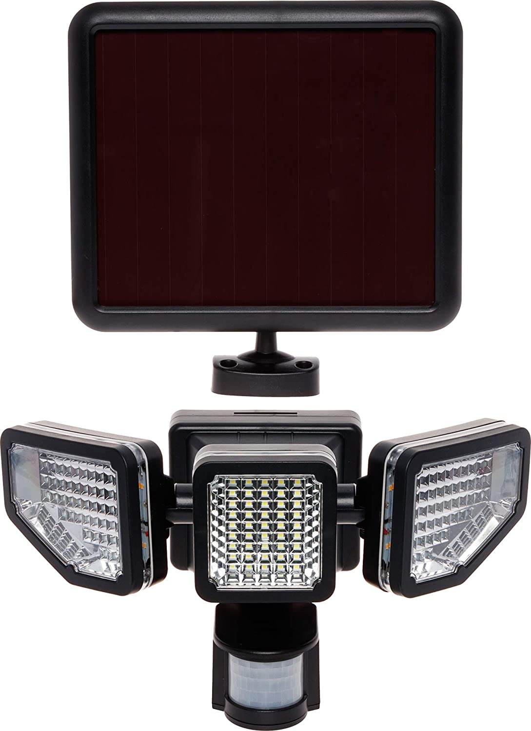 GreenLighting Corner Mount 1200 Lumen Triple Head PIR Solar Security Flood Light w Motion Sensor Clear Lens