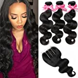 "Free Queen 8A Brazilian Virgin Hair 3 Bundles with Closure Body Wave 100% Unprocessed Human Hair Weave With Lace Closure (12"" 14"" 16""+10""closure, Three Part)"
