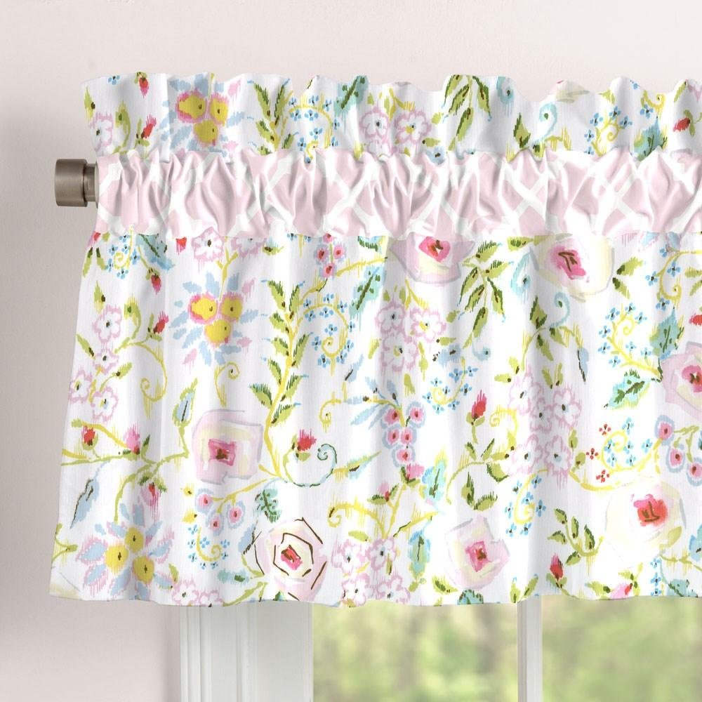 Carousel Designs Pink and Gray Primrose Window Valance Rod Pocket by Carousel Designs