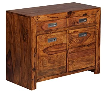 Sideboard Massivholz Sheesham Kommode 90 Cm 2 Schubladen 2 Turen