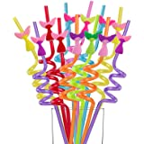 Party Favors for Birthday Party Supplies - Mermaid Tail Straws for Bday Party Favors Goody Bags Gift Bags, Reusable Plastic M