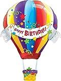 Happy Birthday Hot Air Balloon Jumbo Foil Balloon (Multi-colored) Party Accessory