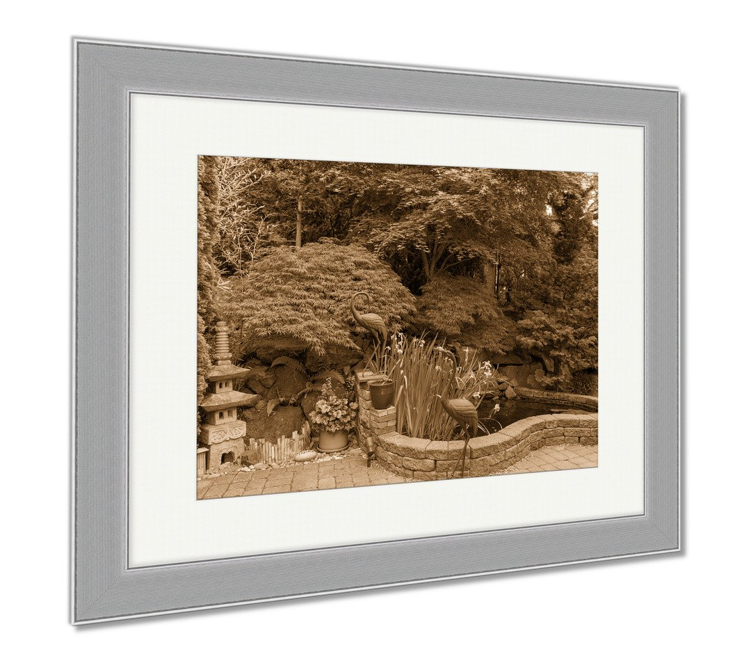 Ashley Framed Prints Home Garden Backyard With Lush Plants Japanese Landscaping Pond Stone Pagoda, Wall Art Home Decoration, Sepia, 30x35 (frame size), Silver Frame, AG6503752