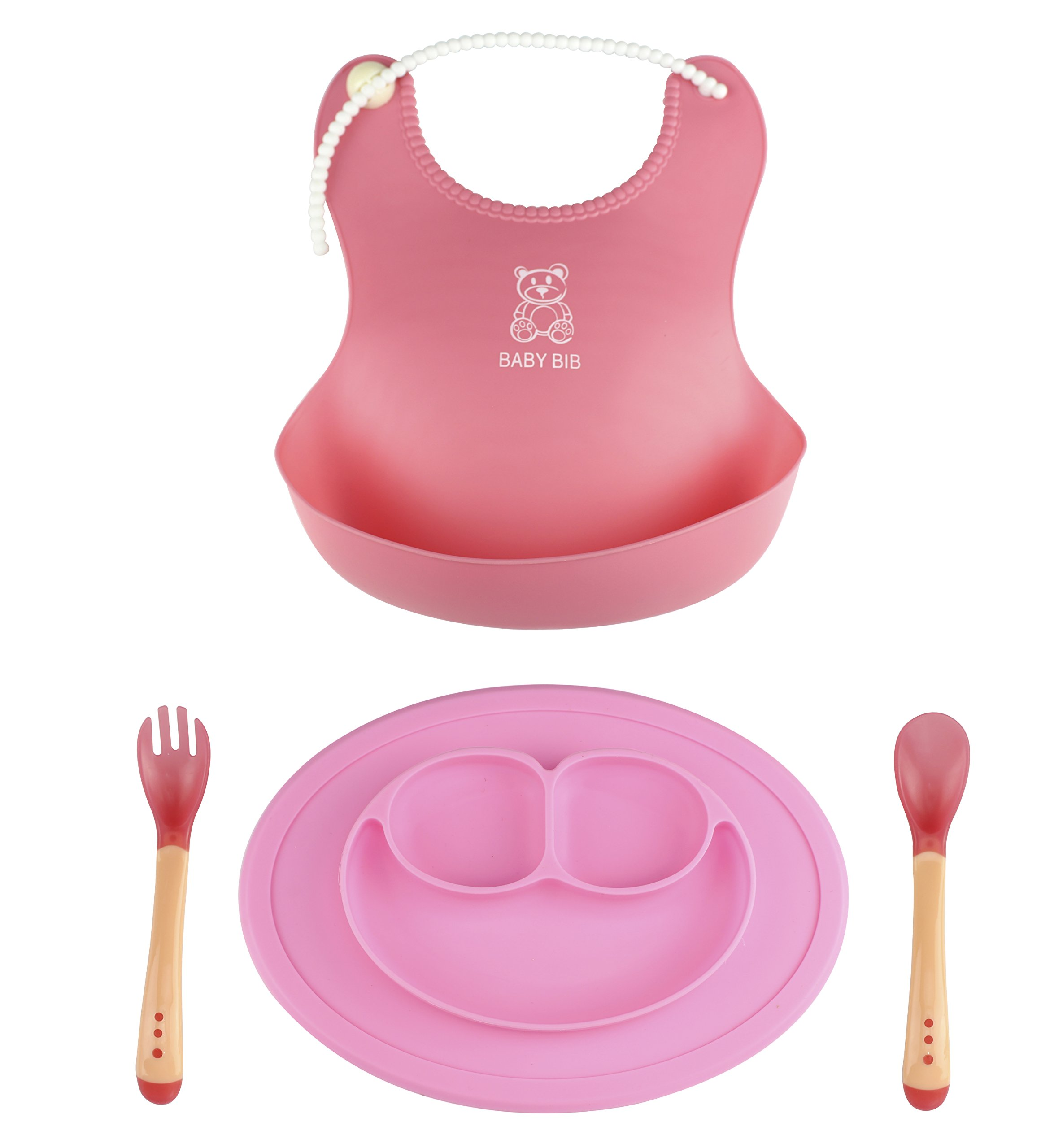 Pink Baby Silicone Placemat Bowl Spoon Fork Plate Bib Set Safe for Children Kid Toddler Breakfast Lunch Dinner Fit Most Highchair Feeding Tray Dining Table Kitchen by Baby plate fork spoon