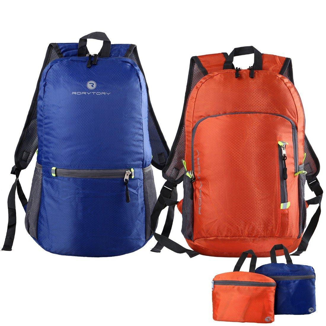 RoryTory 2pcソリッドカラー超軽量防水ハイキングバックパックコンボ B01KP97RY2 ブルー&オレンジ