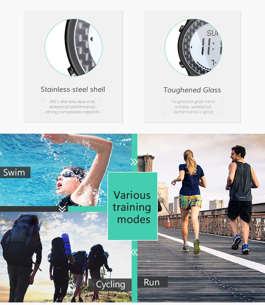 Utomhus vattentät smartwatch kompass fiske barometer bergsklättring höjd temperatur multifunktion sport smart män kvinnor klocka SVART