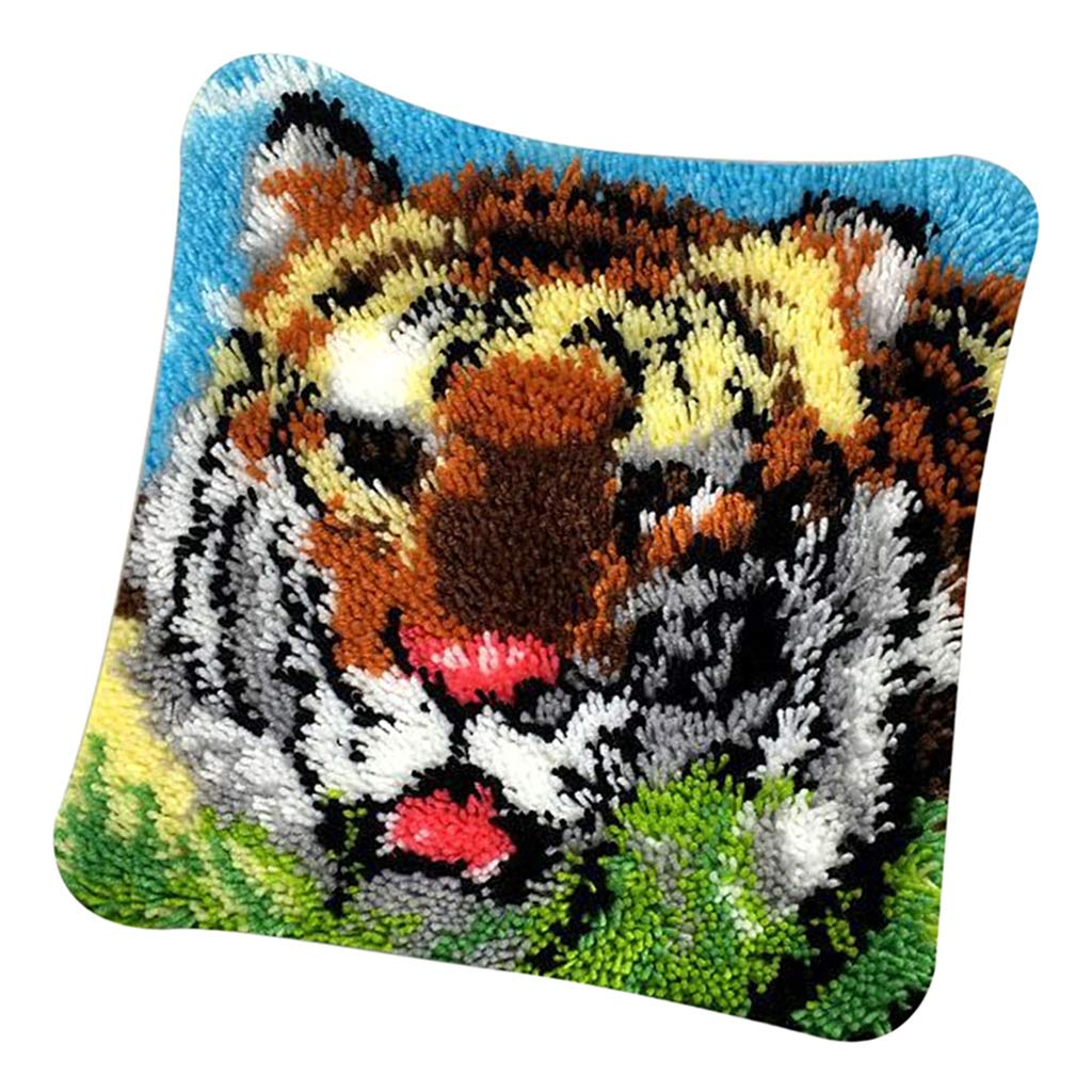 dailymall Animal Latch Hook Kit Rug Animal Tiger DIY Needle Craft Shaggy Kids Rug 16X16 in Latch Hook Complete Cushion Cover Kit