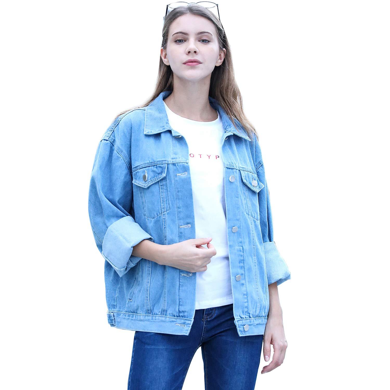 RJUP Oversized Denim Jackets for Women Long Sleeve Boyfriend Jean Jacket Loose Coat