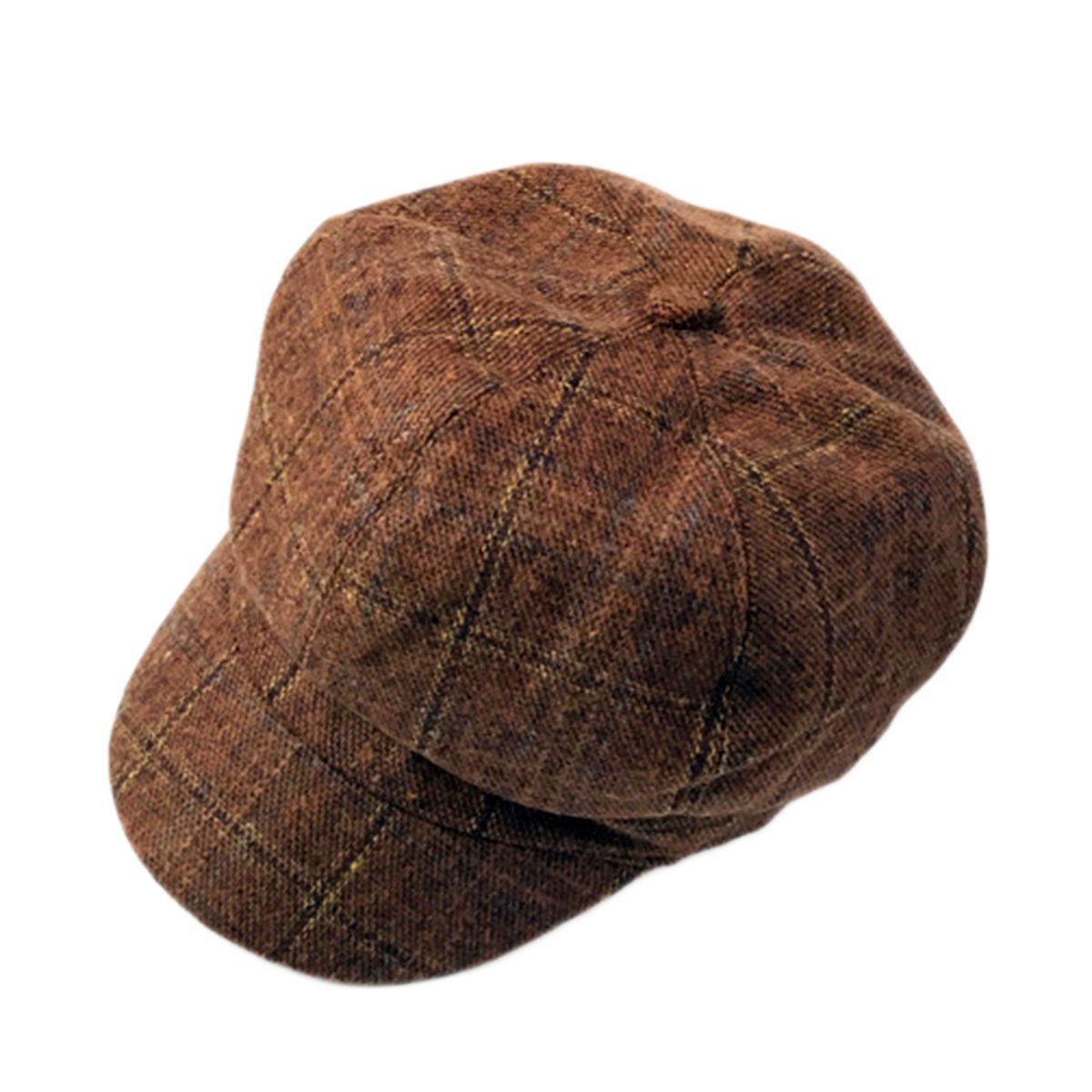 ZLSLZ Womens Retro Woolen Tweed Plaid Ivy British Newsboy Cabbie Gatsby Beret Painter Hat Cap Coffee