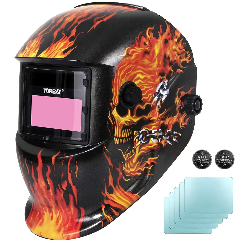 Yorbay Soldadores máscara de oscurecimiento automático de solar con 5 lentes de repuesto (fuego cráneo) reutilizable