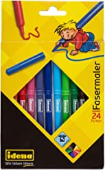 Idena 10038 - Fasermaler, 2 mm Spitze, 24 Stück, 24 Farben
