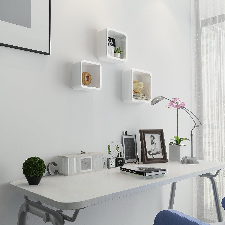 SONGMICS /Étag/ères murales Lot de 3 Cube Lounge pour CD Livres Blanc LWS104
