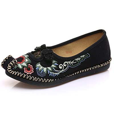 Qhome Women's Floral Embroidery Ethnic Style Comfortable Casual Walking Canvas Flat Shoes