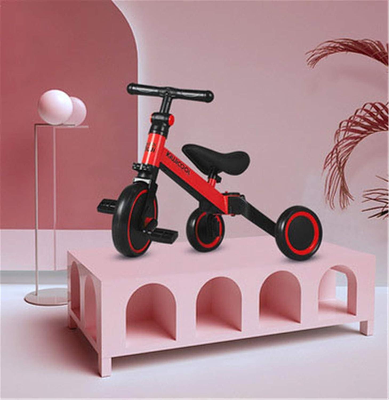 Triciclos para Niños 5 en 1 Un Bici polivalente Triciclo Bicicleta Carro de Equilibrio Caminante 2.8kg Ligero y portátil Adecuado para niños de 1.5-4 años Princesa roja