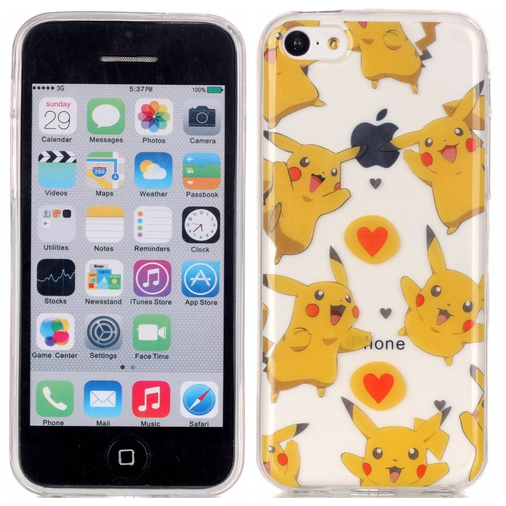 Iphone 5C Skin Case, Apple iphone 5C TPU Case - Famous Japanese Cartoon Pattern Soft TPU Gel Slim Transparent Clear Back Protective Skin Cover Scratch-proof for Apple iphone 5C