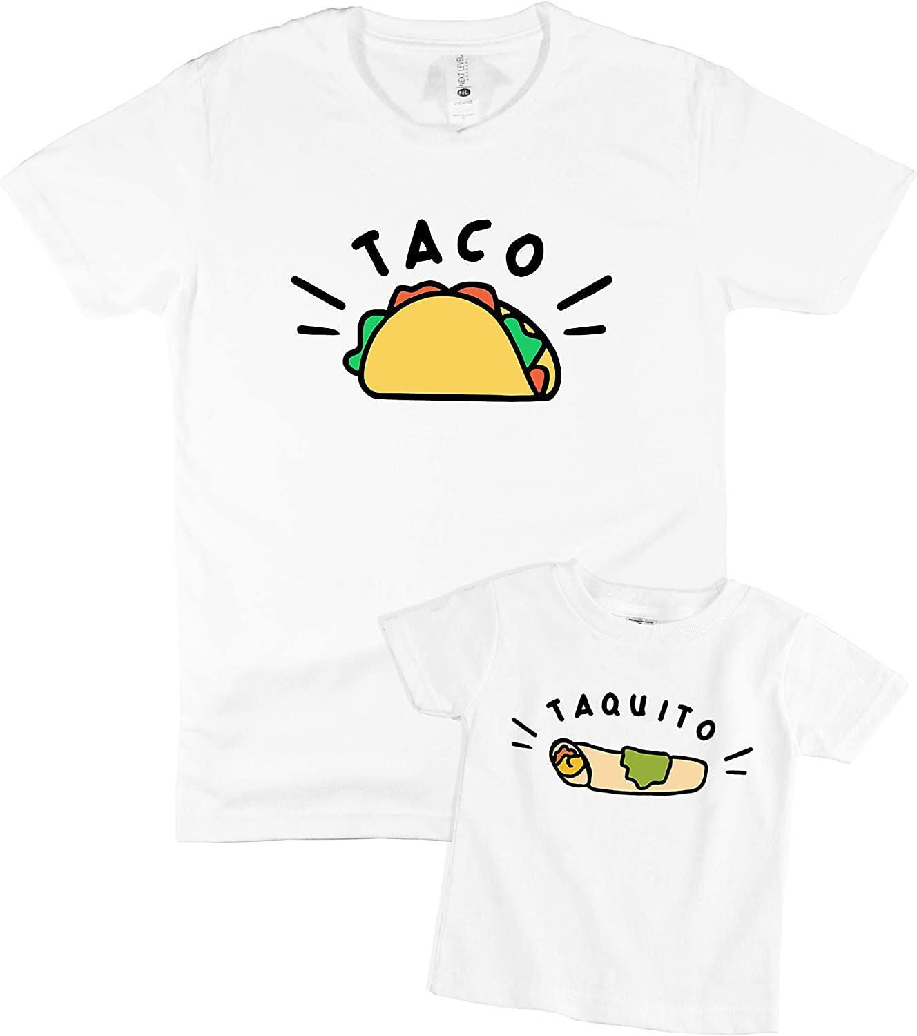 The Spunky Stork Taco & Taquito Father and Son Matching Family Outfits Shirts