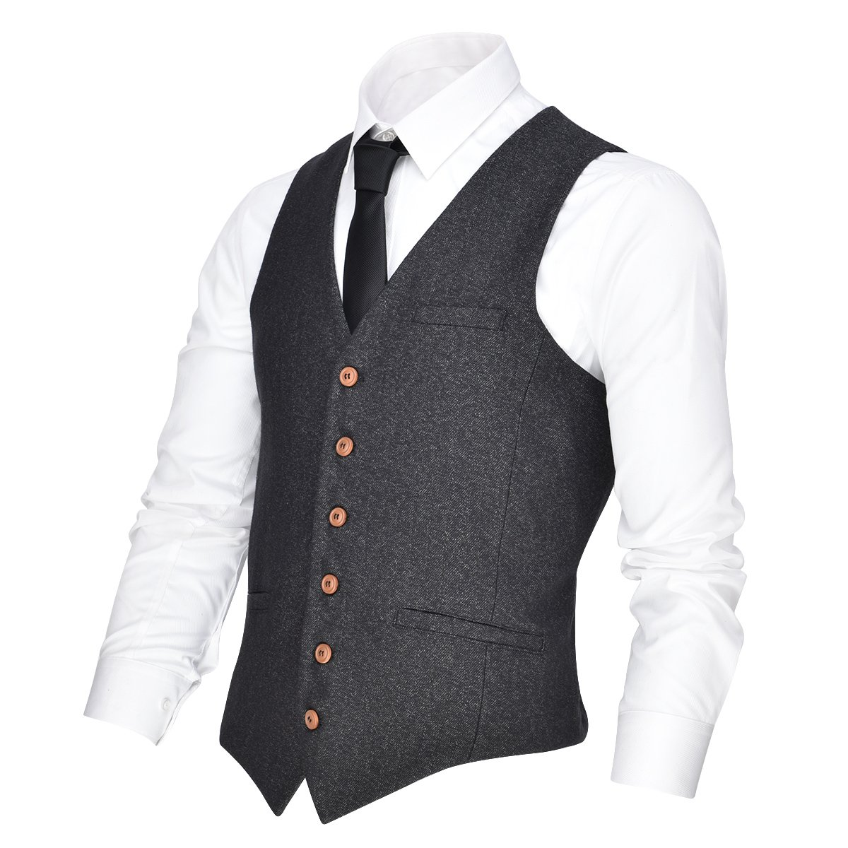 VOBOOM Men's V-Neck Suit Vest Casual Slim Fit Dress 6 Button Vest Waistcoat (Grey, S)