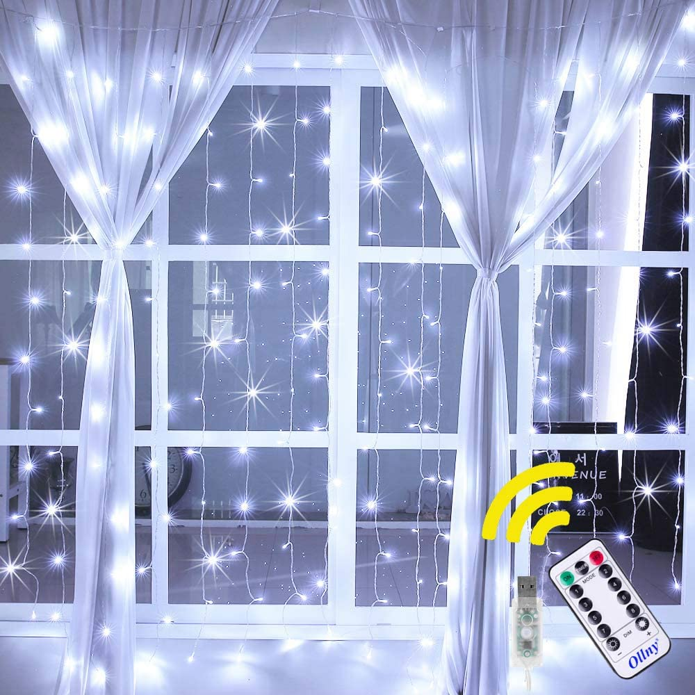 Ollny Curtain Lights 6.6ft x 6.6ft 192 LEDs Cool White Window String Fairy Lights USB Powered with 8 Modes Remote Control for Christmas Bedroom Indoor Wedding Outdoor Party Decoration NOT CONNECTABLE