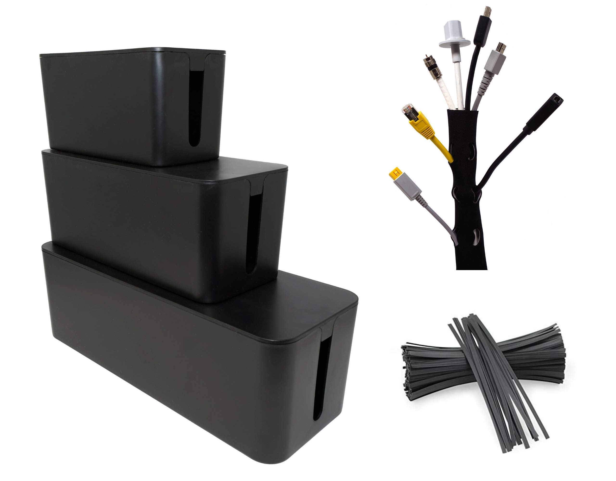 Cable Management Boxes (3-Pack)  w/ 20 Twist Ties and Cable Sleeve | TV and Under Desk Computer Cord Organizer Kit | Hide and Store Wires, Power Strips, USB Hubs by SafeCable (Image #8)