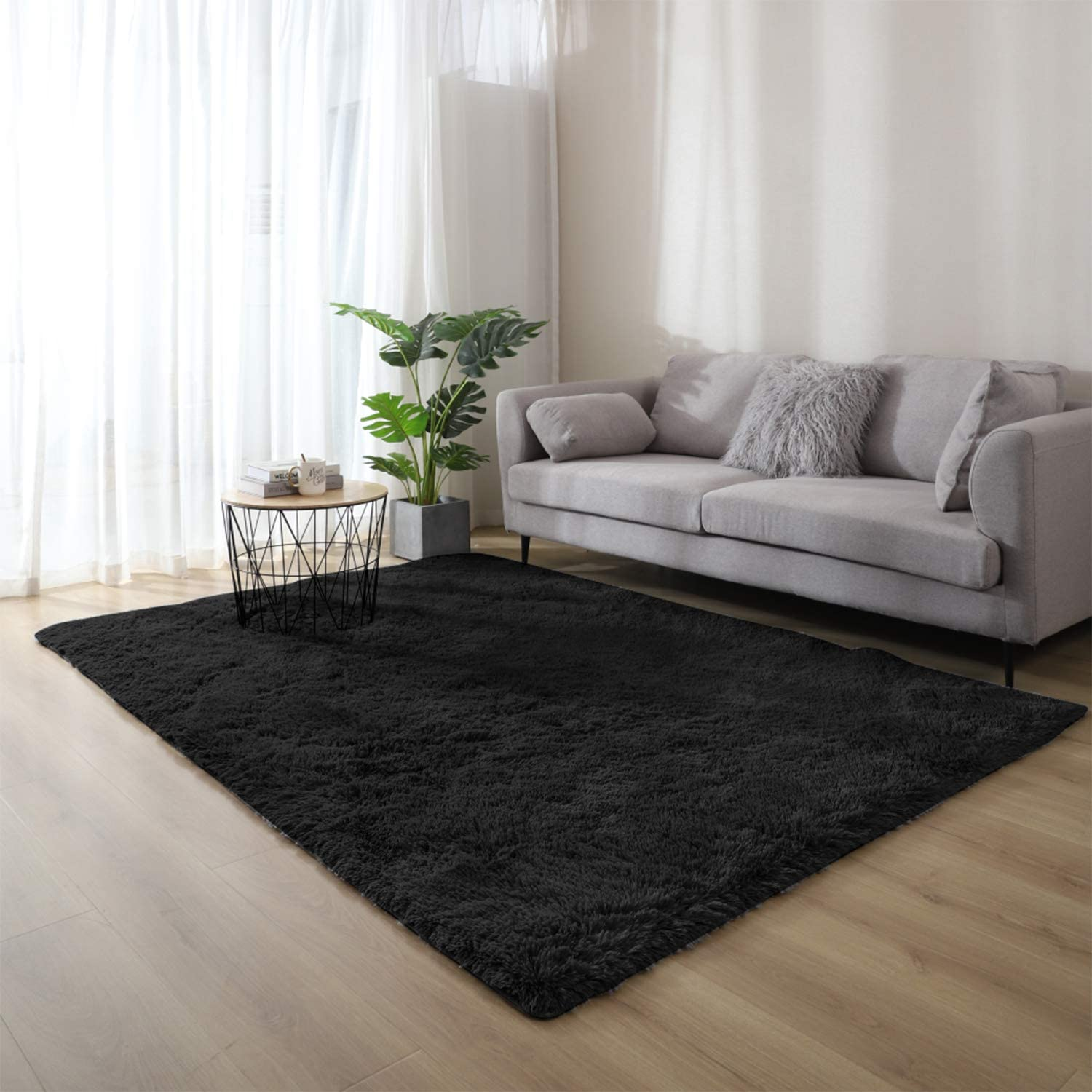 WochiTV Ultra Soft Fluffy Shaggy Black Area Rug 2x3 Feet ,Non-Slip Plush Machine Washable Rug Living Room Bedroom Floor Carpet Kids Baby Nursery Decor Modern Rug