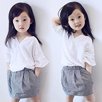 Vestidos niñas, Switchali Niños Bebé Niña Verano moda algodón blusas suave manga corta camisa + Tartán mini falda Conjunto de ropa de fiesta para chica ...