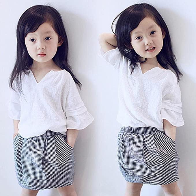 Vestidos niñas, Switchali Niños Bebé Niña Verano moda algodón blusas suave manga corta camisa +