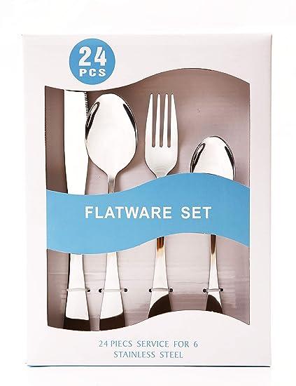 cubertería de 24 piezas, cubiertos de acero inoxidable pulido espejo de metal cuchillo vajilla conjuntos