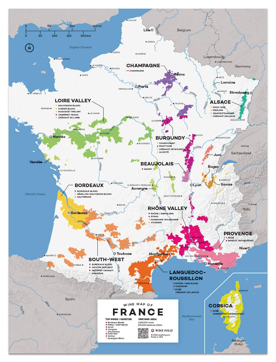 Map Of France To Print.Wine Folly France Wine Map Poster Print 12 X 16