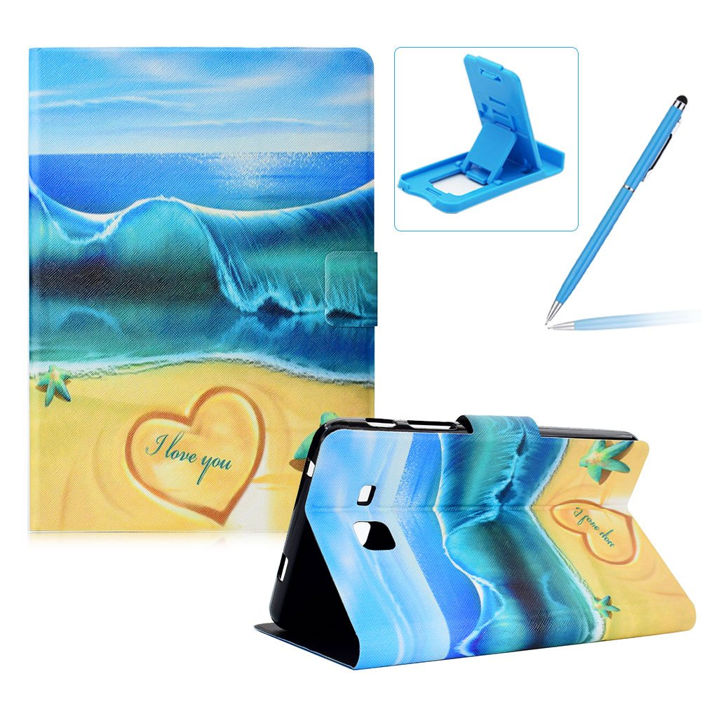 Herzzer Wallet Folio Case for Galaxy Tab A 7.0 T280,Bookstyle Flip Pu Leather Case for Galaxy Tab A 7.0 T280, Stylish Pretty Summer Beach Printed Stand Leather Case with Soft TPU Inner by Herzzer