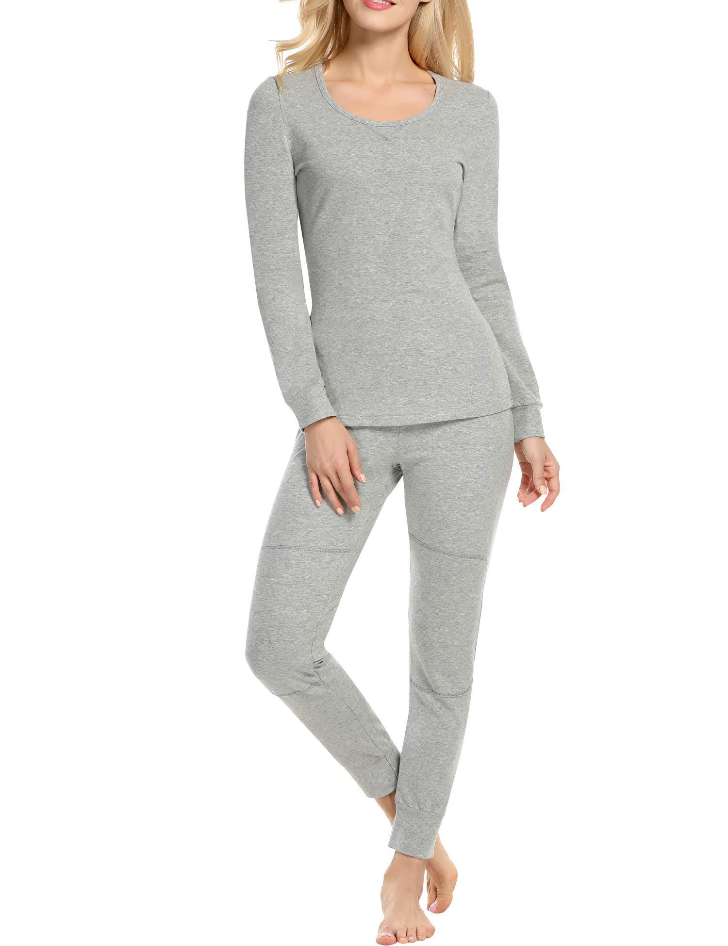 Unibelle Schlafanzug Damen Baumwolle Thermo Unterwäsche Set Einfarbig V-Ausschnitt Langarm Nachtwäsche Zweiteiliger