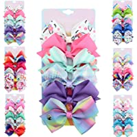 [6-Pack] 5 Inch Cute Mermaid Unicorn Rainbow Colorful Hair Bows Clip Accessories Gifts for Toddlers Girls (Rainbow Series-9)
