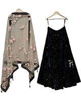 Style Villa Womens's Black Velvet Semi-stitched Bridal Lehengas cholis(Black_Freesize)