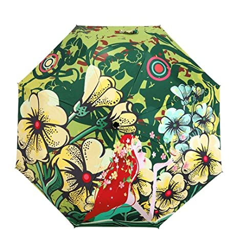 Katoot@ Beautiful Flower Fairy silver coating manual umbrella rain sun women fashion illustration plegable sombrillas