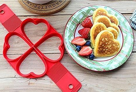 HUVE Antiadherente Moldes de Silicona Pancake, Fabricante de panqueques de Silicona Antiadherente Reutilizable Molde de Huevo,Rápido y Fácil Manera Pancakes ...