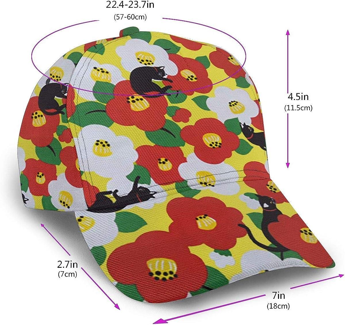 The Cat and Flowers Men Classic Hip Hop Baseball Cap 100/% Cotton Unisex Soft Adjustable Size Black