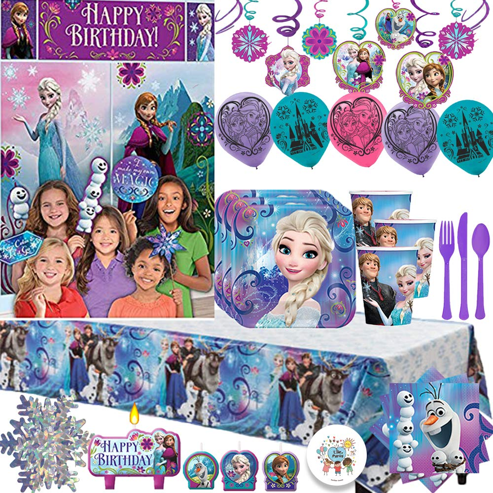 Frozen MEGA Birthday Party Supply Pack For 16 Guests; Plates, Napkins, Tablecover, Cups, Candles, Balloons, Cutlery, Swirls, Snowflake Garland, Frozen Scene Setter and Photo Props, Plus Exclusive Pin