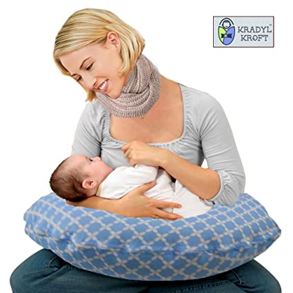 844ff013ed5 Buy Kradyl Kroft 5in1 Baby Feeding Pillow with Detachable Cover (Happy  Blue) Online at Low Prices in India - Amazon.in