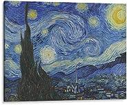 Cuadro decorativo de canvas (lienzo), Noche Estrellada - Vincent Van Gogh - Arte famoso, montado en bastidor de madera de 4.