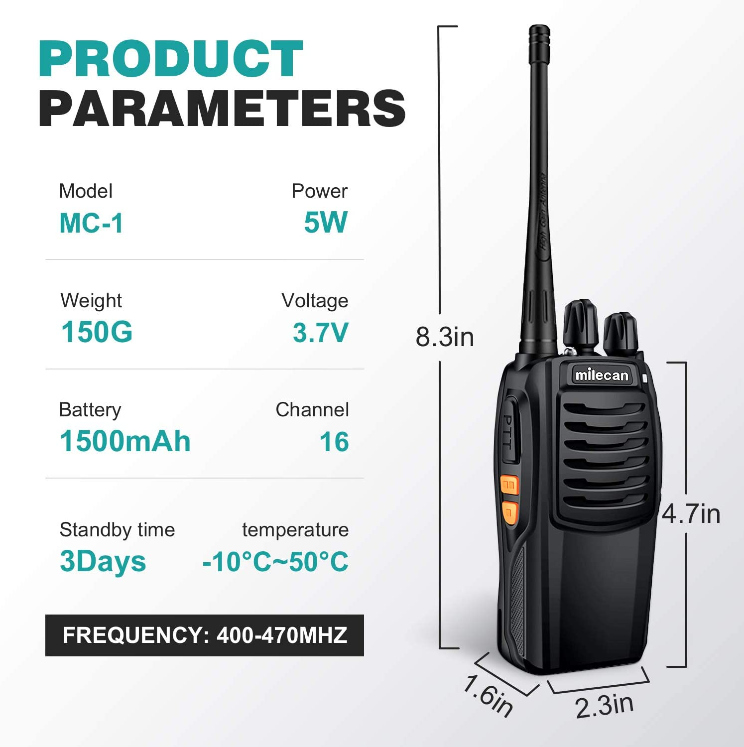 Costume walkie Talkie Rechargeable Battery Headphone Wall Charger Long Range 16 Channels Two Way Radio Milecan MC-1 Walkie Talkies 2pcs in One Box with mic earpiece 2pcs radios