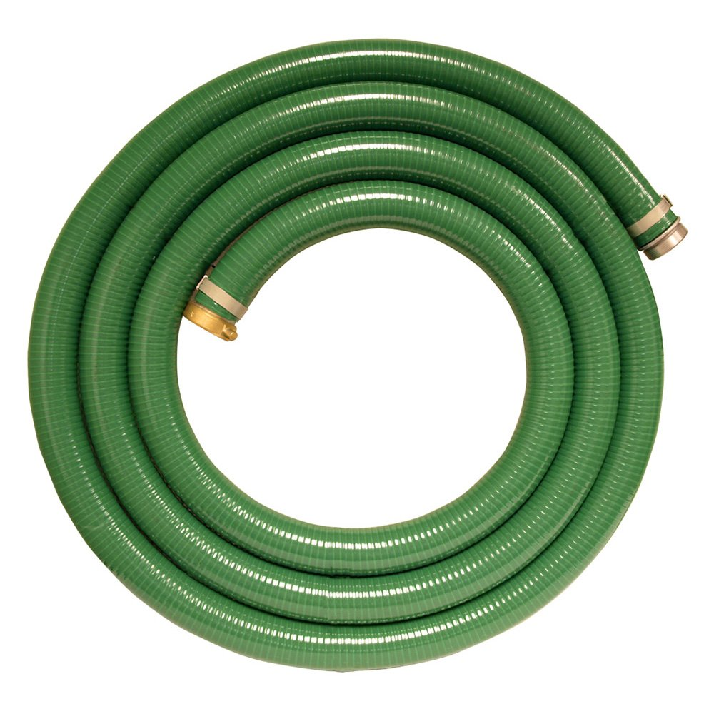 Apache 98128035 2'' x 15' PVC Style G (Green) Suction Hose with Aluminum Pin Lug Fittings by Apache