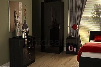 Two Tone Black High Gloss 3 Piece Bedroom Furniture Set Amazonco