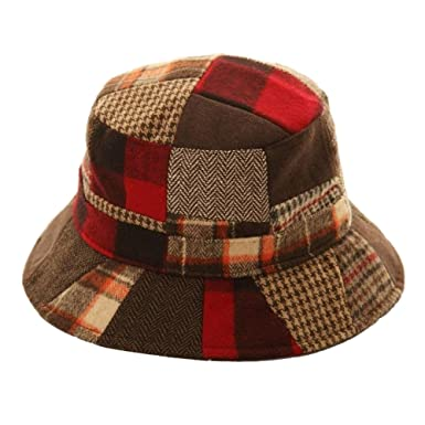 6824e6f7fa672 Adults Unisex Patchwork Wool Blend Bucket Hat at Amazon Men s Clothing  store