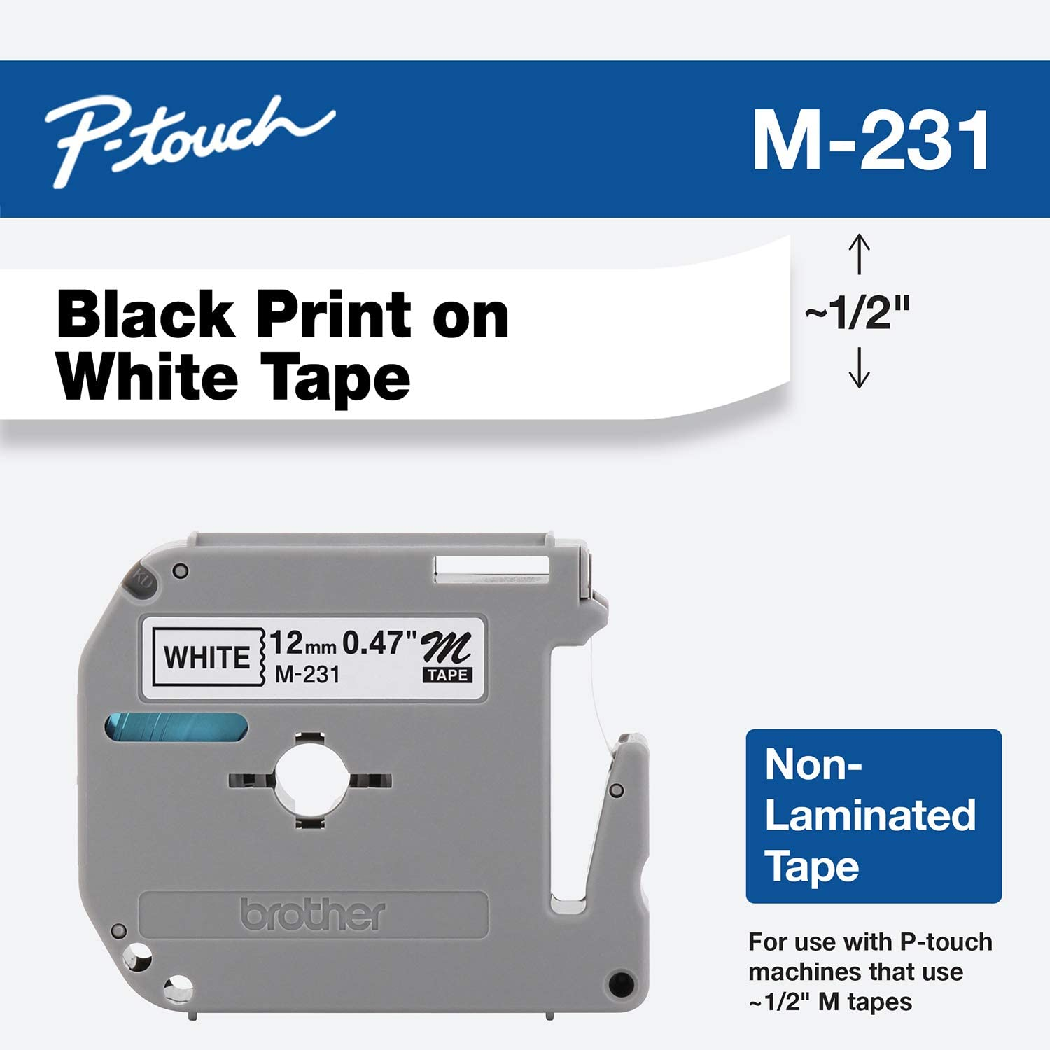 "Brother Genuine P-touch M-231 Tape, 1/2"" (0.47"") Standard P-touch Tape, Black on White, for Indoor Use, Water Resistant, 26.2 Feet (8M), Single-Pack: Office Products"