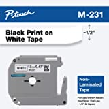 "Brother Genuine P-touch M-231 Tape, 1/2"" (0.47"") Standard P-touch Tape, Black on White, for Indoor Use, Water Resistant…"