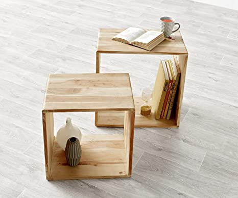 Delife Cube Plant Shelf Acacia Bleached 50 X 30 Cm Solid Wood Coffee Table Set Of 2 Amazon De Kuche Haushalt