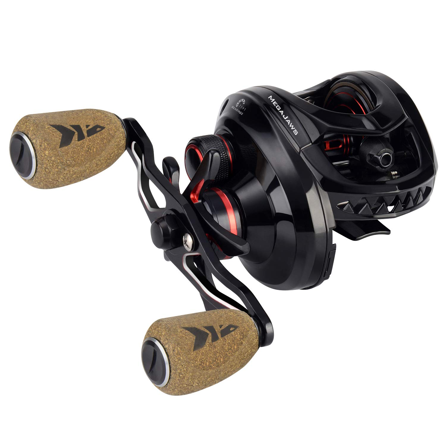 KastKing MegaJaws Baitcasting Reel, Industry First Color-Coded Gear Ratios from 5.4 1 to 9.1 1, Fishing Reel with 11 1 High Performance BB, Magnetic Braking System, 17.6 Lb Carbon Fiber Disc Drag