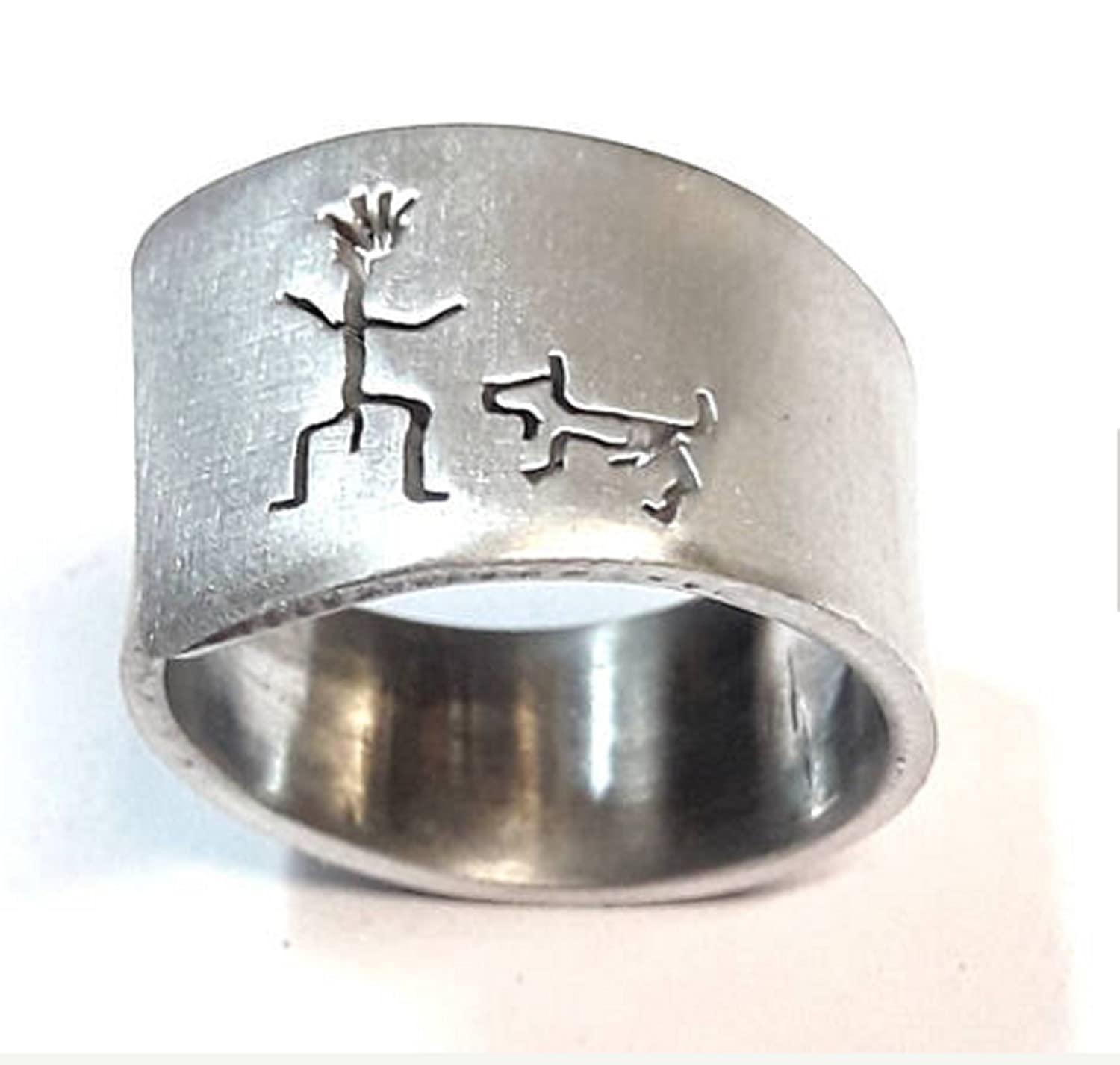 Open aluminum band ring with He and his dog, and custom text.