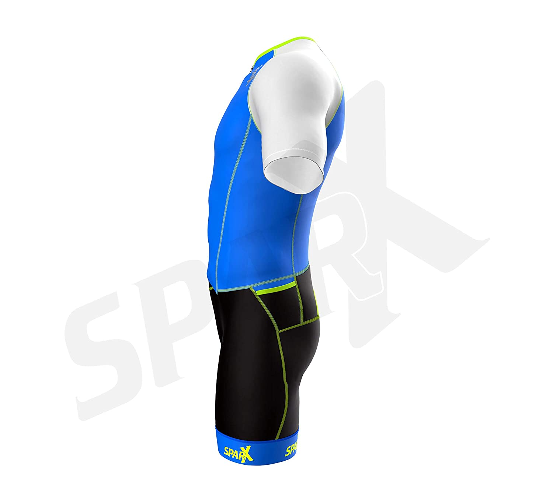 Mens Short Sleeve Aero Tri Suit Comfortable Grip Bands /& Chamois Swim Bike Run Sparx Men`s Elite Aerosuit Triathlon Suit with Sleeves Full Front Zipper